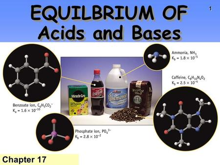 1 EQUILBRIUM OF Acids and Bases Chapter 17. 2 Water H 2 O can function as both an ACID and a BASE. Equilibrium constant for water = K w K w = [H 3 O +