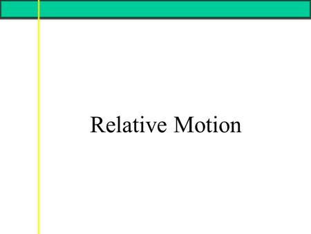 Relative Motion. A frame of reference in physics, may refer to a coordinate system or set of axes within which to measure the position, orientation, and.