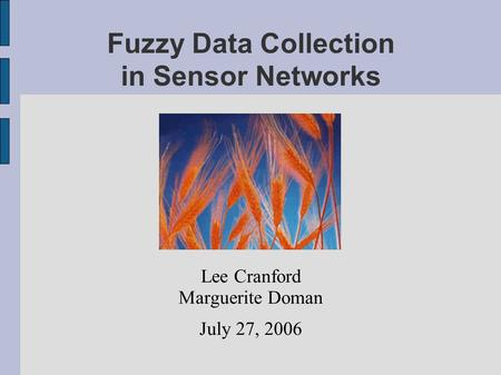Fuzzy Data Collection in Sensor Networks Lee Cranford Marguerite Doman July 27, 2006.