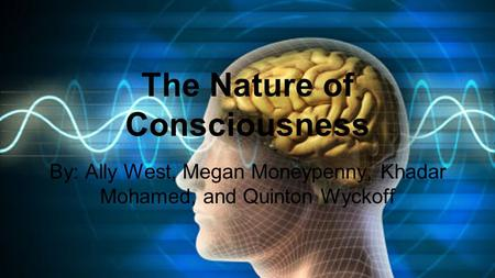 By: Ally West, Megan Moneypenny, Khadar Mohamed, and Quinton Wyckoff The Nature of Consciousness.
