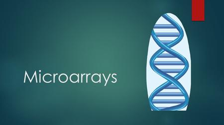"Microarrays.  Used to observe which genes are expressed in cells  1-DNA segments are taken of specific genes and placed on a DNA ""chip"" or slide  2-mRNA."