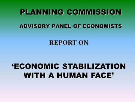 PLANNING COMMISSION ADVISORY PANEL OF ECONOMISTS REPORT ON 'ECONOMIC STABILIZATION WITH A HUMAN FACE'