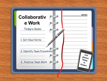 Collaborativ e Work Today's Goals: 1. Set Class Norms 2. Identify Team Procedures 3. Practice Team Work Cell phones Today: In Drawer.