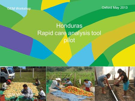 Page 1 Honduras Rapid care analysis tool pilot Oxford May 2013 GEM Workshop.