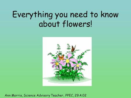 Everything you need to know about flowers! Ann Morris, Science Advisory Teacher, PPEC, 29.4.02.