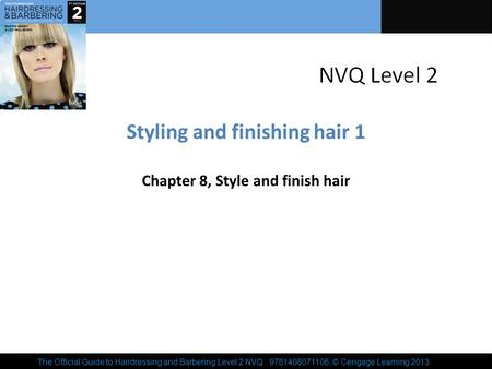 The Official Guide to Hairdressing and Barbering Level 2 NVQ, 9781408071106, © Cengage Learning 2013 Styling and finishing hair 1 Chapter 8, Style and.