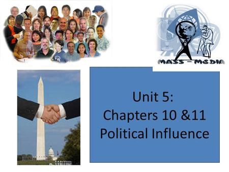 Unit 5: Chapters 10 &11 Political Influence. What Influences Government? Public Opinion Lobbyist Mass Media Interest Groups Propaganda.