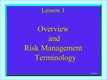 Visual 1. 1 Lesson 1 Overview and and Risk Management Terminology.