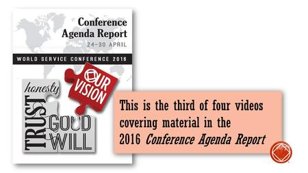 This is the third of four videos covering material in the 2016 Conference Agenda Report ®