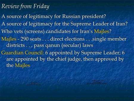 Review from Friday A source of legitimacy for Russian president? A source of legitimacy for the Supreme Leader of Iran? Who vets (screens) candidates for.