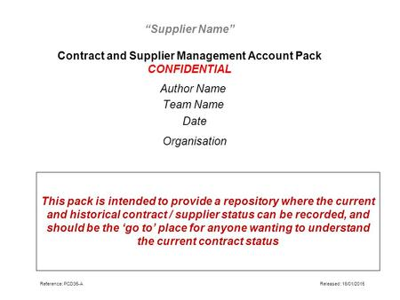 """Supplier Name"" Contract and Supplier Management Account Pack CONFIDENTIAL Author Name Team Name Date Organisation This pack is intended to provide a repository."