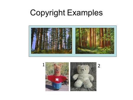 Copyright Examples 1 2. Protection Terms Duration: life + 70 years No registration required Protection against a perfect copy For more information contact.