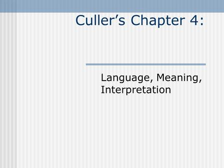 Culler's Chapter 4: Language, Meaning, Interpretation.