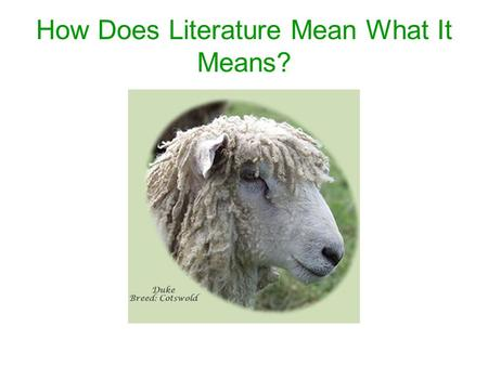 "How Does Literature Mean What It Means?. ""Mary Had a Little Lamb"" – What Does It Mean? Mary's Lamb Mary had a little lamb, Its fleece was white as snow;"