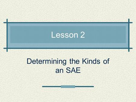 Lesson 2 Determining the Kinds of an SAE. Common Core / Next Generation Standards Addressed! W.5.1 Write opinion pieces on topics or texts, supporting.