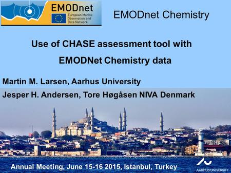 Annual Meeting, June 15-16 2015, Istanbul, Turkey Use of CHASE assessment tool with EMODNet Chemistry data EMODnet Chemistry Martin M. Larsen, Aarhus University.