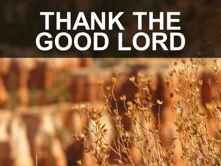 THANK THE GOOD LORD. Thank the good Lord for all he's done. Thank the Good Lord for livin' Thank the Good Lord for giving His love and all my sins forgivin'.