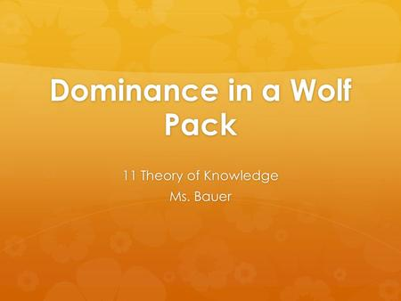 Dominance in a Wolf Pack 11 Theory of Knowledge Ms. Bauer.