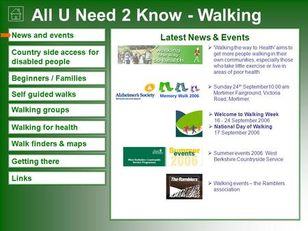 All U Need 2 Know - Walking Links Walking groups Walk finders & maps Beginners / Families Walking for health Country side access for disabled people News.
