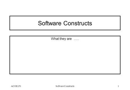 ACOE251Sofware Constructs1 Software Constructs What they are …..