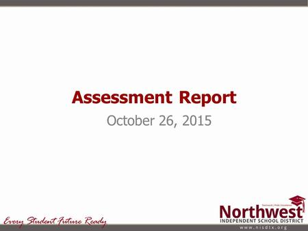 Assessment Report October 26, 2015. Types of Assessments Given Formative Summative Aptitude/Achievement Curriculum Based Assessments.