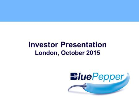 Bidvest Direct by Investor Presentation London, October 2015.