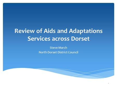 Review of Aids and Adaptations Services across Dorset Steve March North Dorset District Council 1.