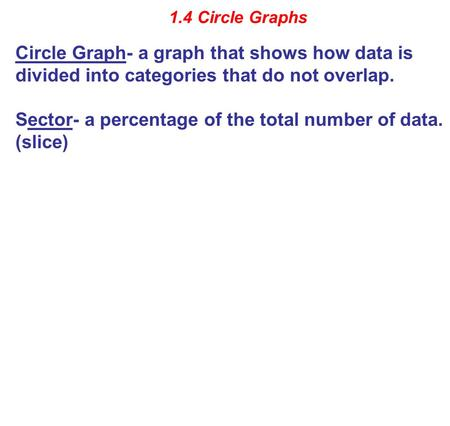 1.4 Circle Graphs Circle Graph- a graph that shows how data is divided into categories that do not overlap. Sector- a percentage of the total number of.