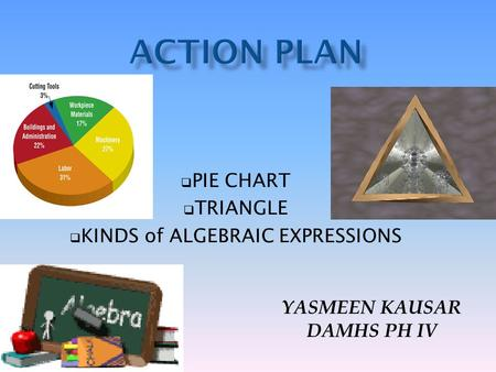  PIE CHART  TRIANGLE  KINDS of ALGEBRAIC EXPRESSIONS YASMEEN KAUSAR DAMHS PH IV.