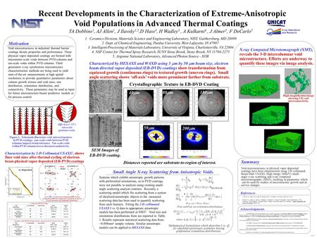 Recent Developments in the Characterization of Extreme-Anisotropic Void Populations in Advanced Thermal Coatings TA Dobbins 1, AJ Allen 1, J Ilavsky 1,2,D.