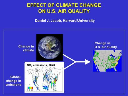 EFFECT OF CLIMATE CHANGE ON U.S. AIR QUALITY Daniel J. Jacob, Harvard University Global change in emissions Change in U.S. air quality Change in climate.