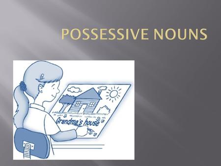  Possessive nouns are used to show possession (owning, or having).  They are words that would normally be nouns, but are used as adjectives to modify.