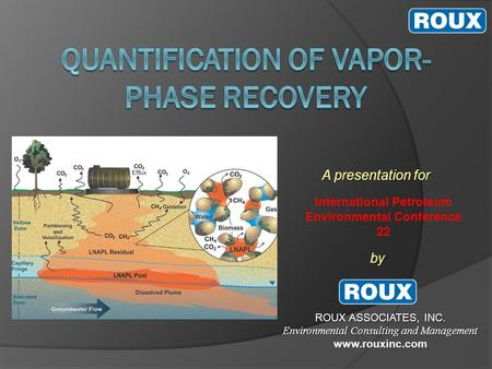 A presentation for by ROUX ASSOCIATES, INC. Environmental Consulting and Management www.rouxinc.com International Petroleum Environmental Conference 22.