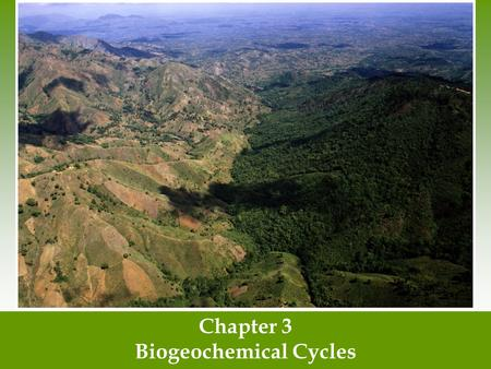 Chapter 3 Biogeochemical Cycles. Matter cycles through the biosphere Biosphere- The combination of all ecosystems on Earth. Biogeochemical cycles- The.