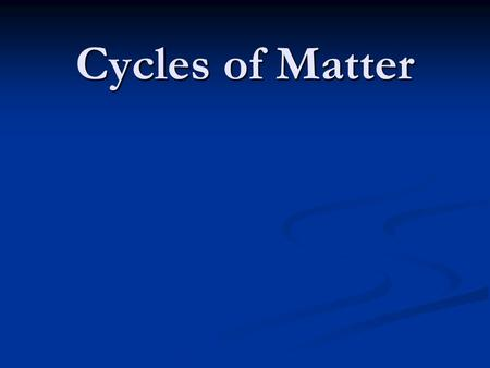 Cycles of Matter. Recycling in the Biosphere Unlike the one way flow of energy, matter is recycled within and between ecosystems Unlike the one way flow.