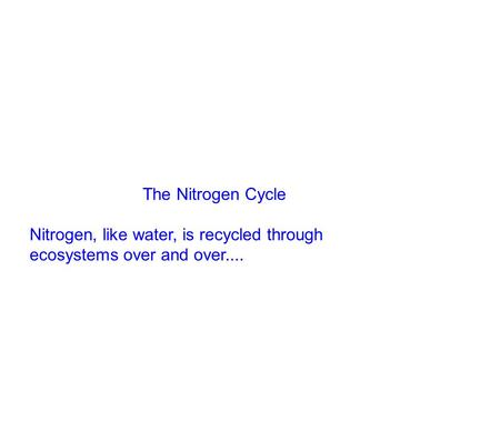 The Nitrogen Cycle Nitrogen, like water, is recycled through ecosystems over and over....