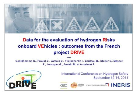 25/12/2015 1 DRA/LPe Data for the evaluation of hydrogen RIsks onboard VEhicles : outcomes from the French project DRIVE ---- Gentilhomme O., Proust C.,