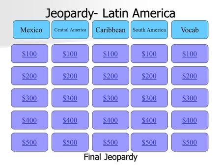 Jeopardy- Latin America $100 Mexico Central America Caribbean South America Vocab $200 $300 $400 $500 $400 $300 $200 $100 $500 $400 $300 $200 $100 $500.