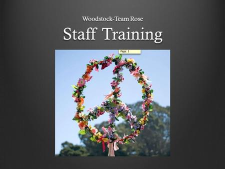 Staff Training Woodstock-Team Rose. Our Vision Our brunch will be a blast to the past to 1969, Woodstock, the music festival that shaped the 20 th century.