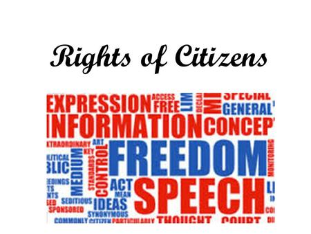 Rights of Citizens. Citizenship A citizen is a native or naturalized member of a state or nation who owes allegiance to its government and is entitled.