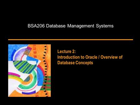 BSA206 Database Management Systems Lecture 2: Introduction to Oracle / Overview of Database Concepts.