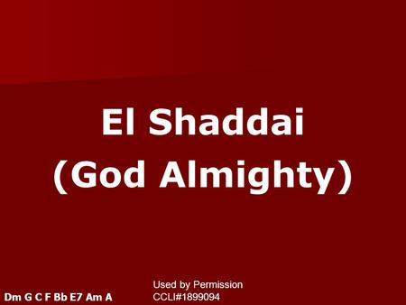 El Shaddai (God Almighty)