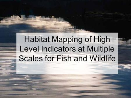 Habitat Mapping of High Level Indicators at Multiple Scales for Fish and Wildlife.