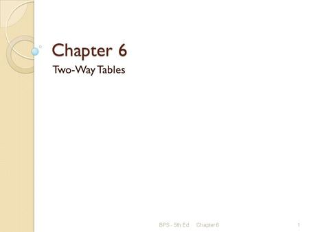 Chapter 6 Two-Way Tables BPS - 5th Ed.Chapter 61.