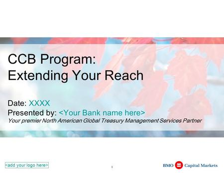 1 CCB Program: Extending Your Reach Date: XXXX Presented by: Your premier North American Global Treasury Management Services Partner.