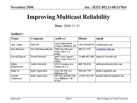 Doc.: IEEE 802.11-08/1378r0 Submission November 2008 Darwin Engwer, Nortel NetworksSlide 1 Improving Multicast Reliability Date: 2008-11-11 Authors: