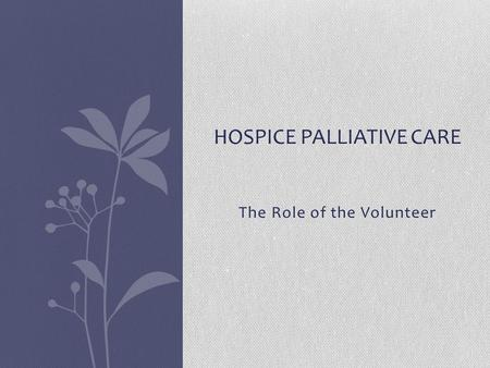 The Role of the Volunteer HOSPICE PALLIATIVE CARE.