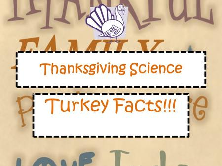 Thanksgiving Science Turkey Facts!!!. Turkey Numbers They can fly for short bursts up to 55 mph They run up to 25 mph They have a 270 degree field of.