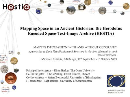 Mapping Space in an Ancient Historian: the Herodotus Encoded Space-Text-Image Archive (HESTIA) Mapping Information with and without Geography Approaches.