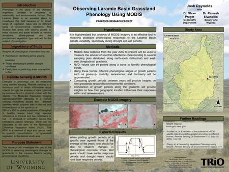 Observing Laramie Basin Grassland Phenology Using MODIS Josh Reynolds with PROPOSED RESEARCH PROJECT Acknowledgments Steven Prager, Dept. of Geography.